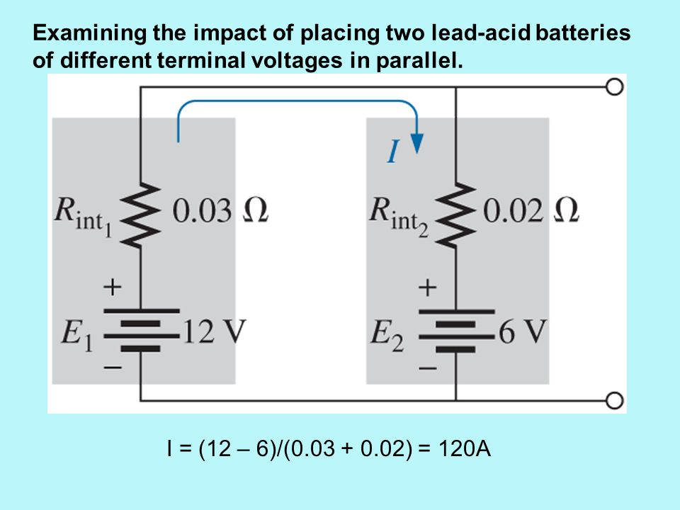 Examining the impact of placing two lead-acid batteries of different terminal voltages in parallel.