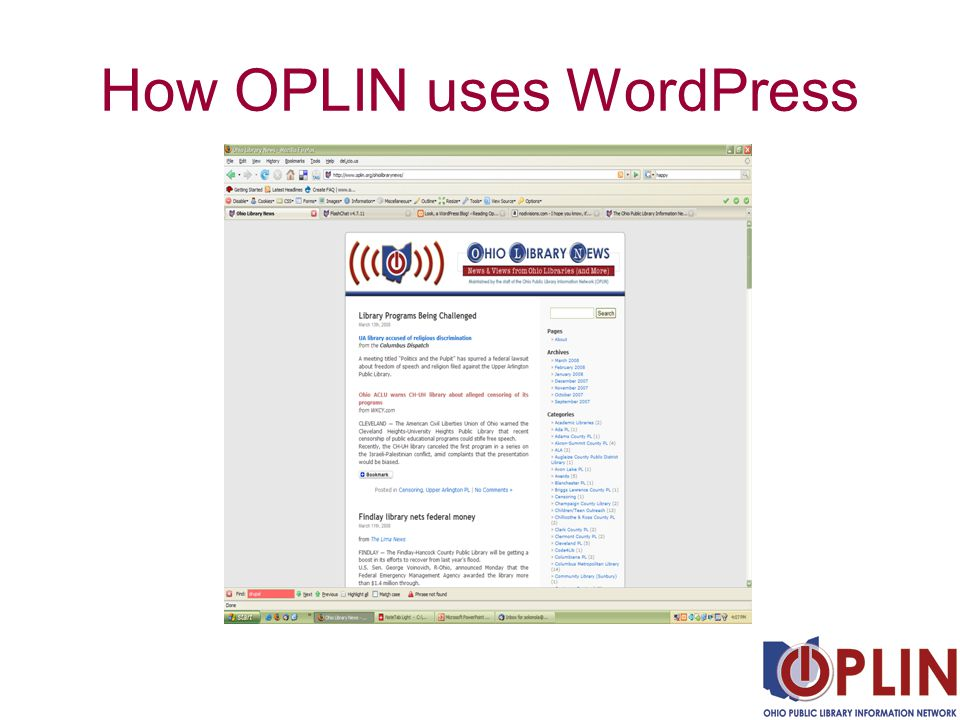 How OPLIN uses WordPress