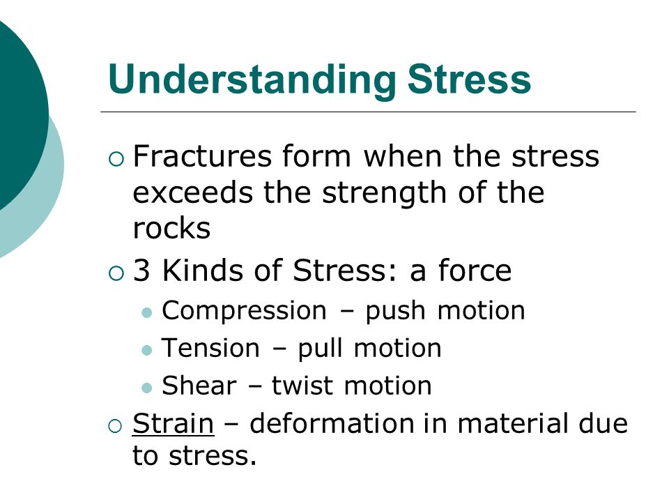 Understanding Stress  Fractures form when the stress exceeds the strength of the rocks  3 Kinds of Stress: a force Compression – push motion Tension – pull motion Shear – twist motion  Strain – deformation in material due to stress.
