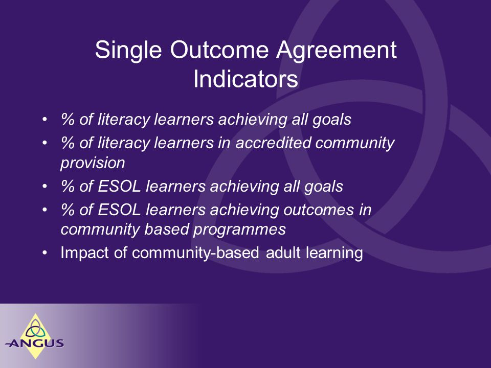 Single Outcome Agreement Indicators % of literacy learners achieving all goals % of literacy learners in accredited community provision % of ESOL learners achieving all goals % of ESOL learners achieving outcomes in community based programmes Impact of community-based adult learning
