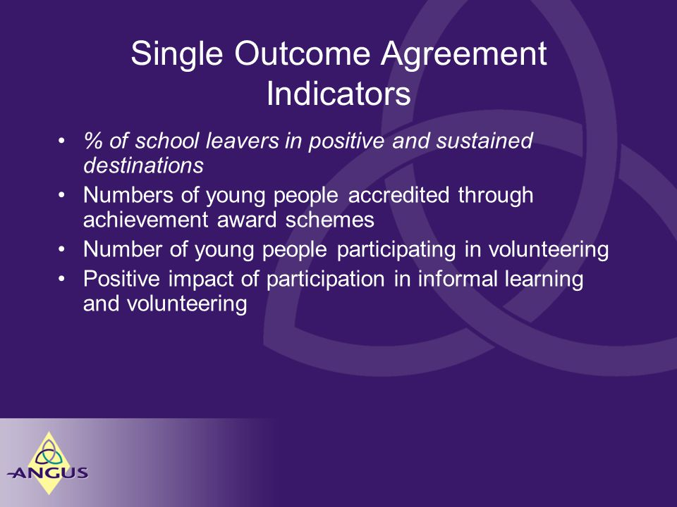 Single Outcome Agreement Indicators % of school leavers in positive and sustained destinations Numbers of young people accredited through achievement award schemes Number of young people participating in volunteering Positive impact of participation in informal learning and volunteering