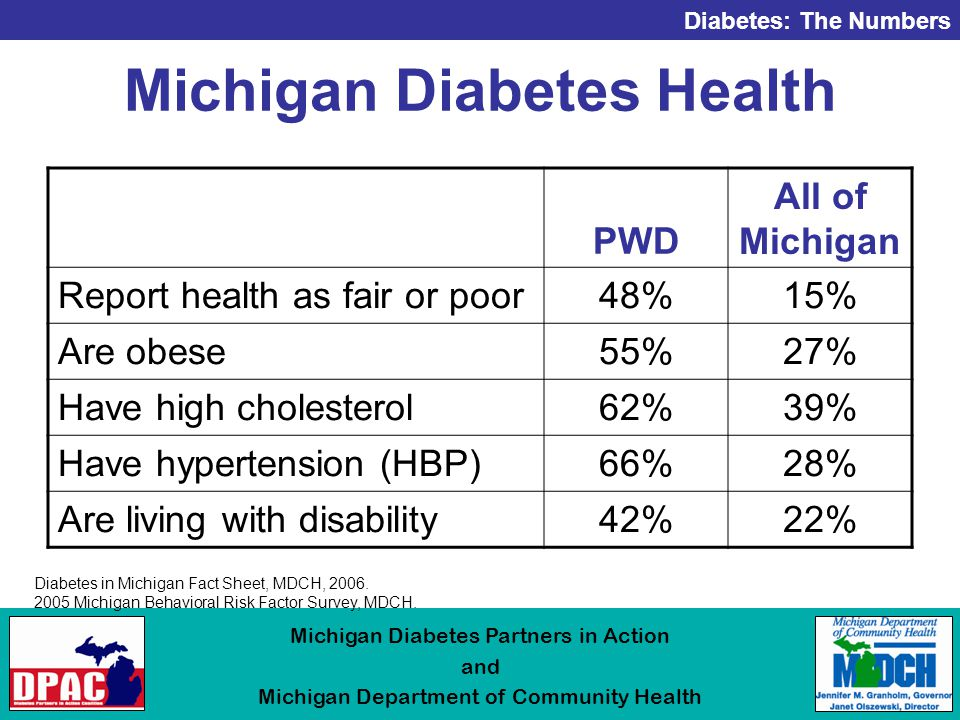 Diabetes: The Numbers Michigan Diabetes Partners in Action and Michigan Department of Community Health Michigan Diabetes Health Diabetes in Michigan Fact Sheet, MDCH, 2006.