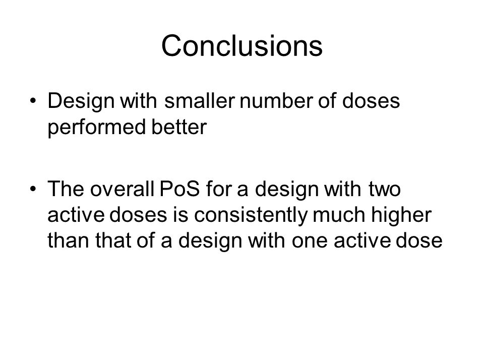 Conclusions Design with smaller number of doses performed better The overall PoS for a design with two active doses is consistently much higher than that of a design with one active dose