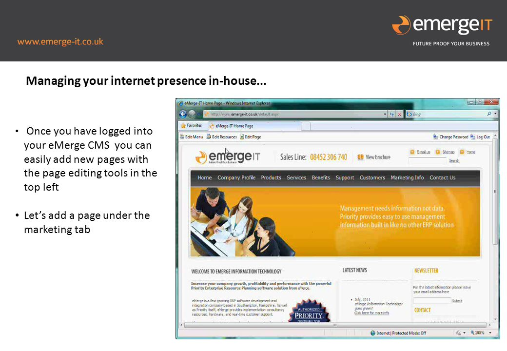 Picture to fill this blue space Once you have logged into your eMerge CMS you can easily add new pages with the page editing tools in the top left Let's add a page under the marketing tab Managing your internet presence in-house...