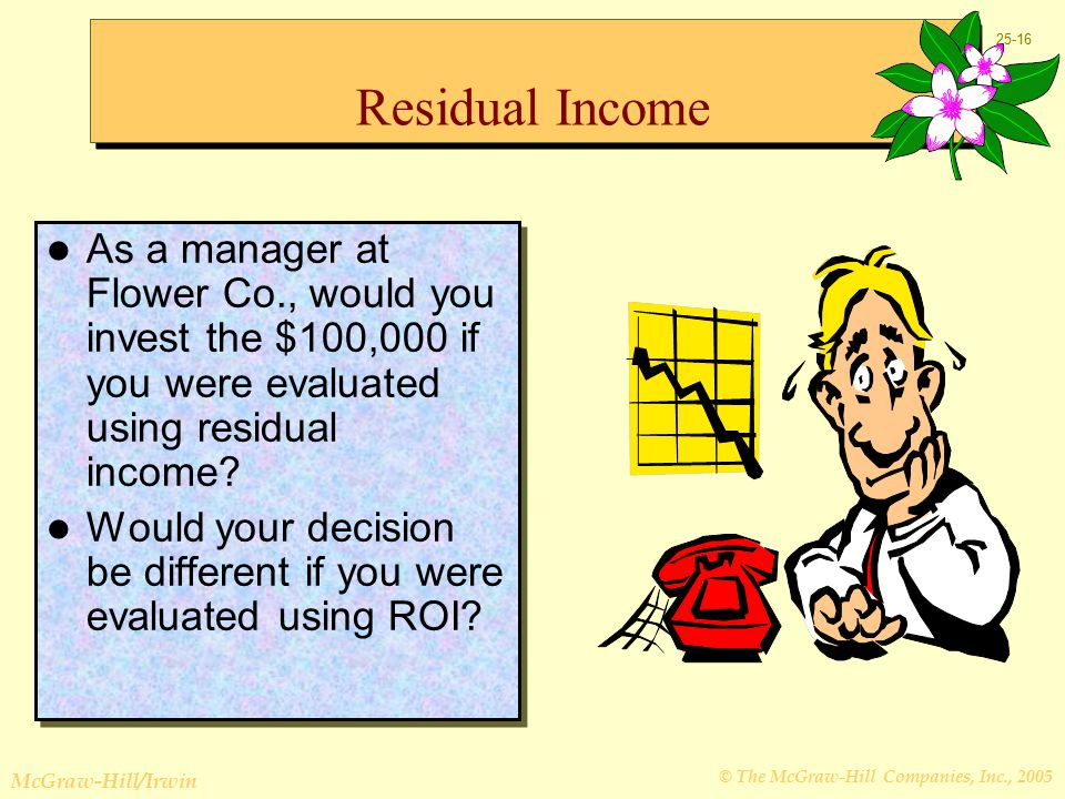© The McGraw-Hill Companies, Inc., 2005 McGraw-Hill/Irwin Residual Income As a manager at Flower Co., would you invest the $100,000 if you were evaluated using residual income.