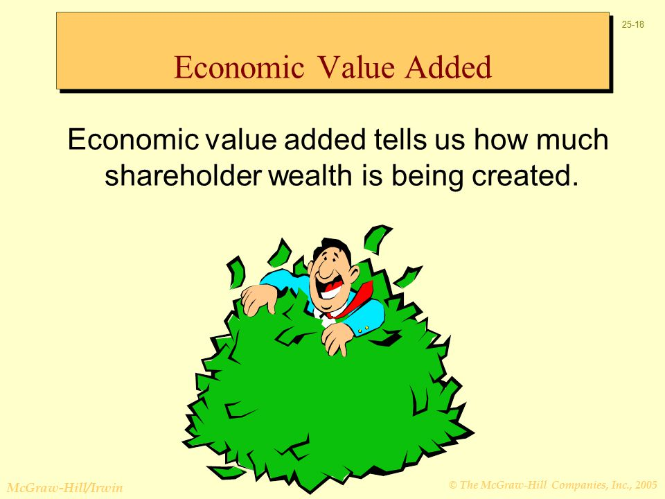 © The McGraw-Hill Companies, Inc., 2005 McGraw-Hill/Irwin Economic value added tells us how much shareholder wealth is being created.