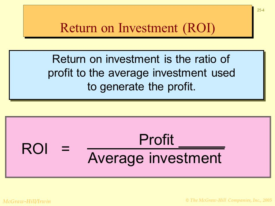 © The McGraw-Hill Companies, Inc., 2005 McGraw-Hill/Irwin 25-4 Return on investment is the ratio of profit to the average investment used to generate the profit.
