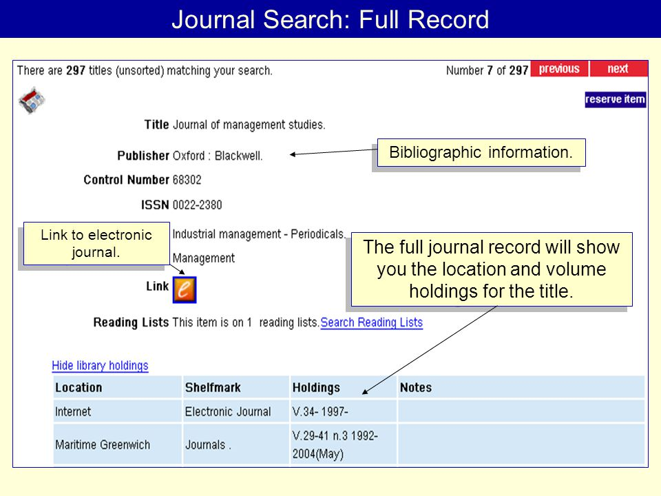 Journal Search: Full Record The full journal record will show you the location and volume holdings for the title.