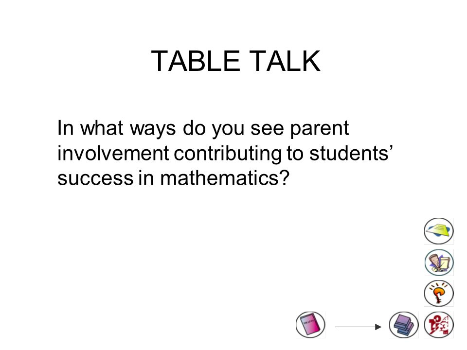 TABLE TALK In what ways do you see parent involvement contributing to students' success in mathematics
