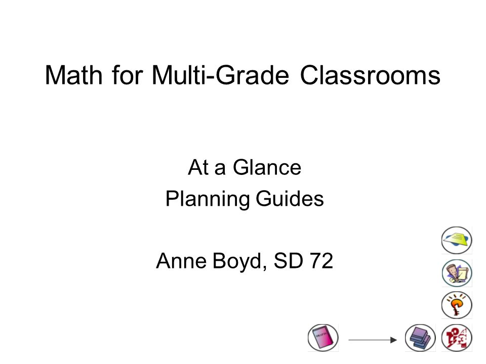 Math for Multi-Grade Classrooms At a Glance Planning Guides Anne Boyd, SD 72