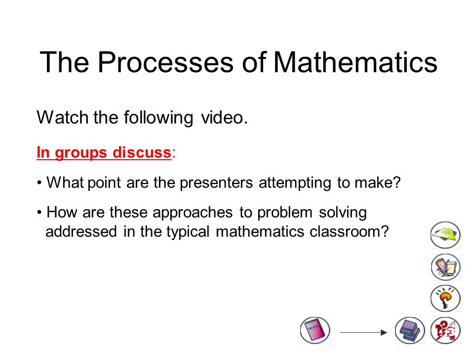 The Processes of Mathematics Watch the following video.