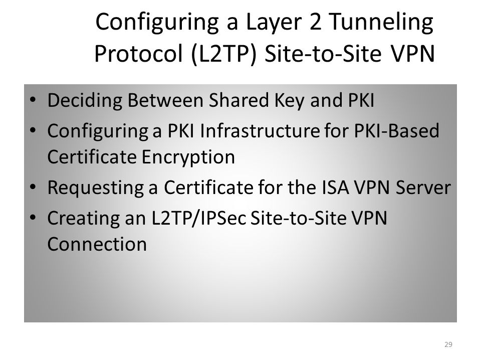 29 Configuring a Layer 2 Tunneling Protocol (L2TP) Site-to-Site VPN Deciding Between Shared Key and PKI Configuring a PKI Infrastructure for PKI-Based Certificate Encryption Requesting a Certificate for the ISA VPN Server Creating an L2TP/IPSec Site-to-Site VPN Connection