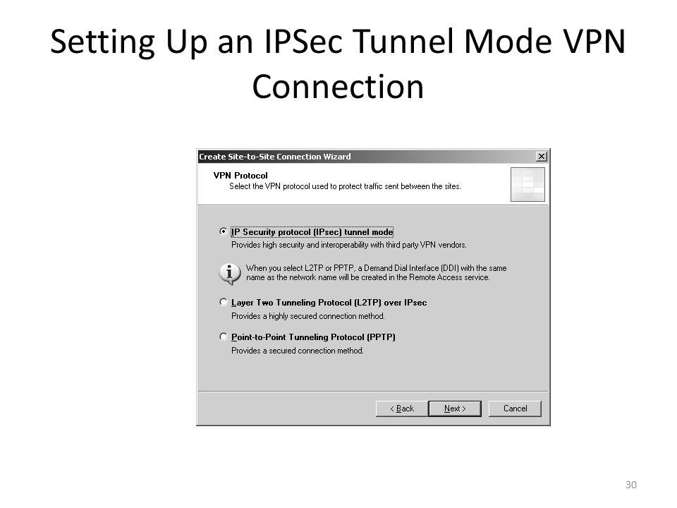 30 Setting Up an IPSec Tunnel Mode VPN Connection