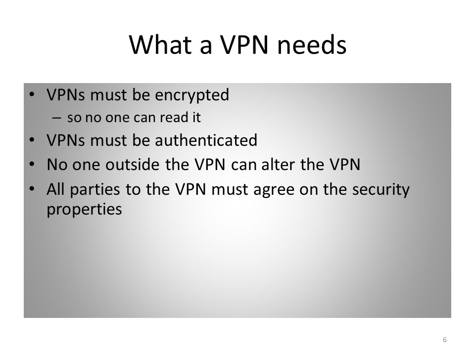 6 What a VPN needs VPNs must be encrypted – so no one can read it VPNs must be authenticated No one outside the VPN can alter the VPN All parties to the VPN must agree on the security properties