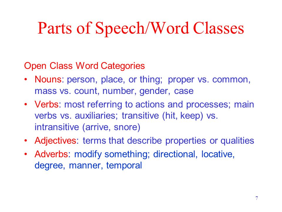 7 Parts of Speech/Word Classes Open Class Word Categories Nouns: person, place, or thing; proper vs.
