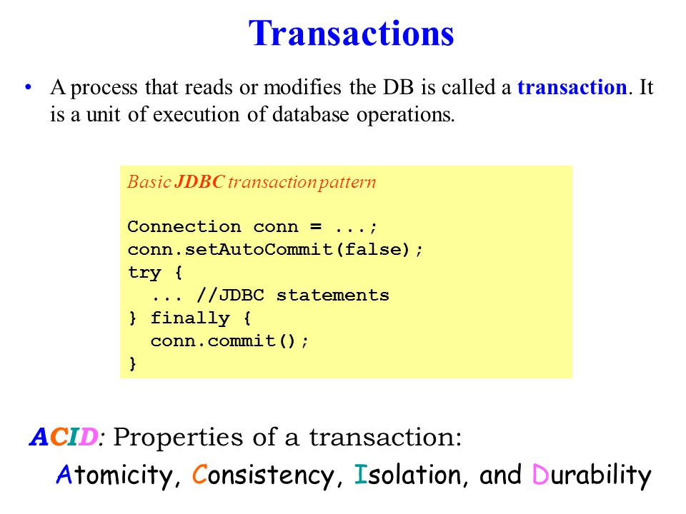 Transactions A process that reads or modifies the DB is called a transaction.