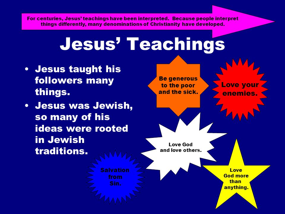 Jesus' Teachings Jesus taught his followers many things.