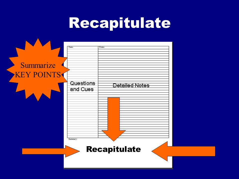Recapitulate Summarize KEY POINTS