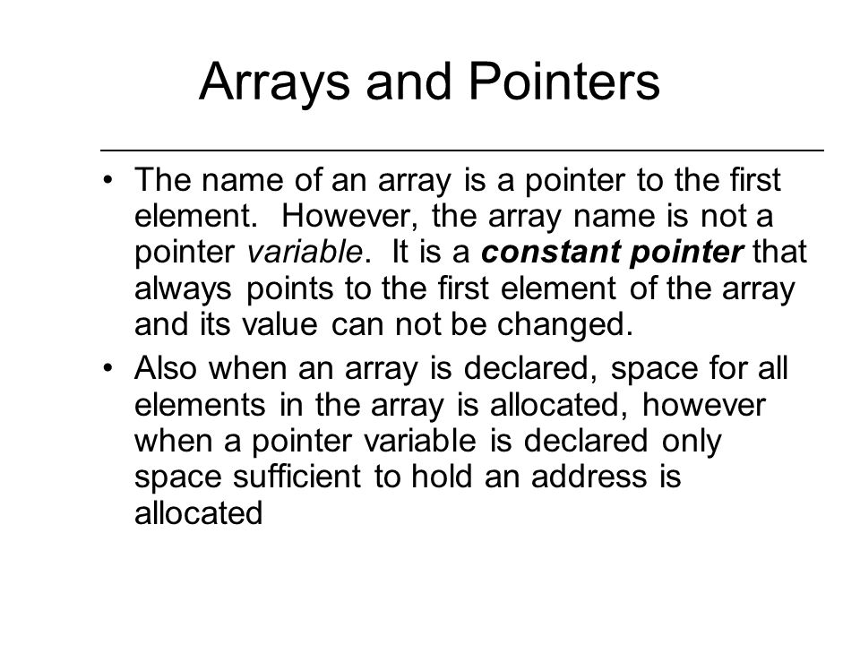 More Pointers and Arrays You can also index a pointer using array notation Example: char myString[] = This is a string ; char *str; str = myString; for(int i =0; str[i]; i++)//look for null cout << str[i]; What does this segment print.
