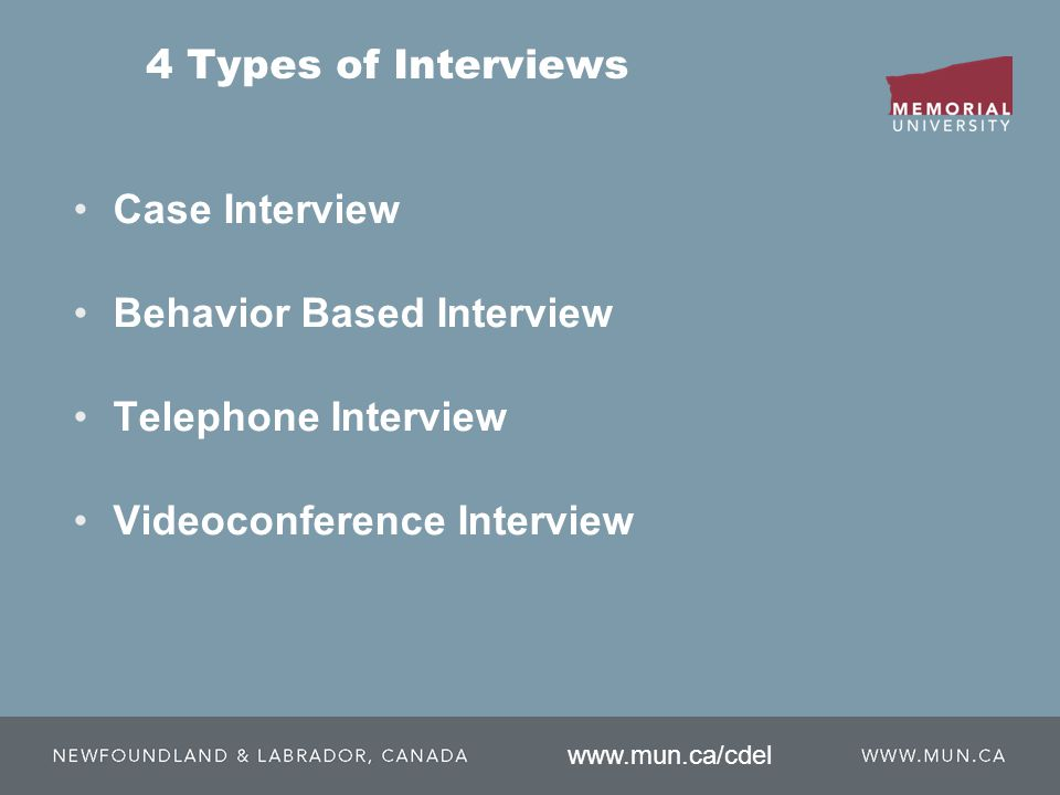 4 Types of Interviews Case Interview Behavior Based Interview Telephone Interview Videoconference Interview