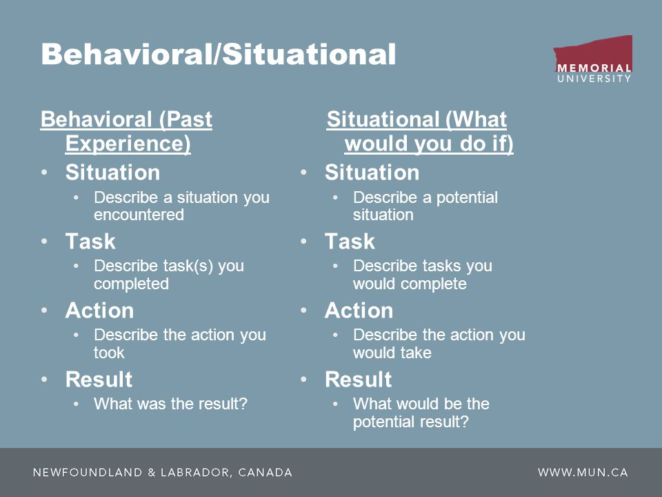 Behavioral/Situational Behavioral (Past Experience) Situation Describe a situation you encountered Task Describe task(s) you completed Action Describe the action you took Result What was the result.