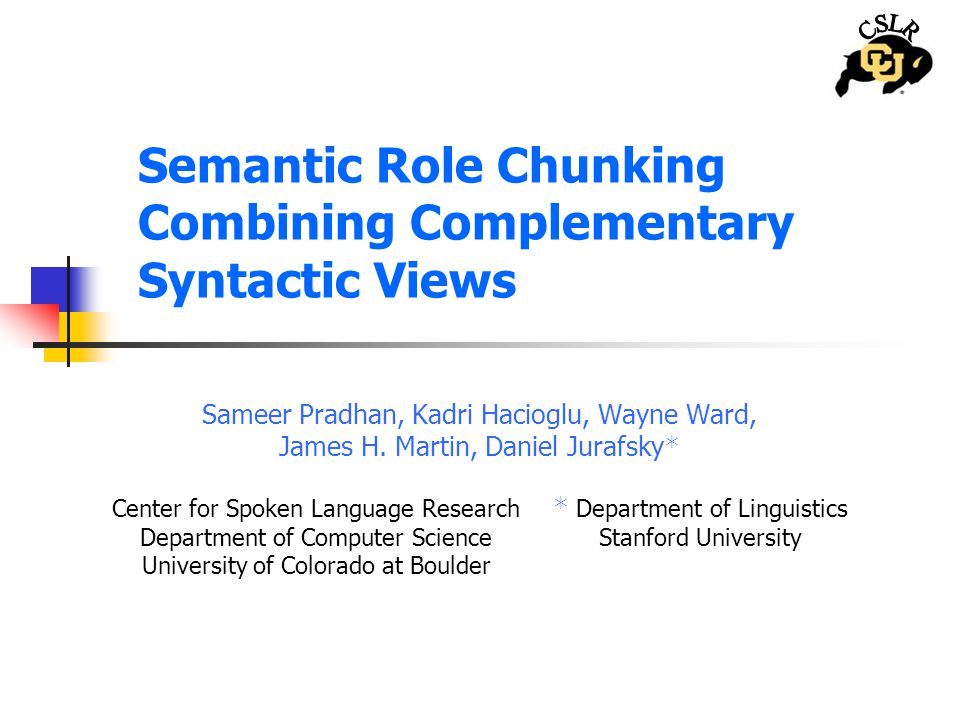 Semantic Role Chunking Combining Complementary Syntactic