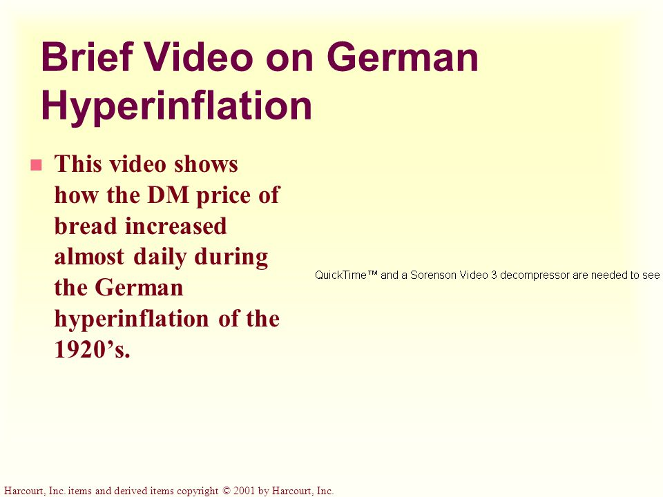 Brief Video on German Hyperinflation n This video shows how the DM price of bread increased almost daily during the German hyperinflation of the 1920's.