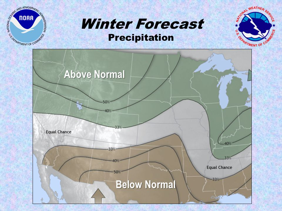 Winter Forecast Precipitation Below Normal Above Normal