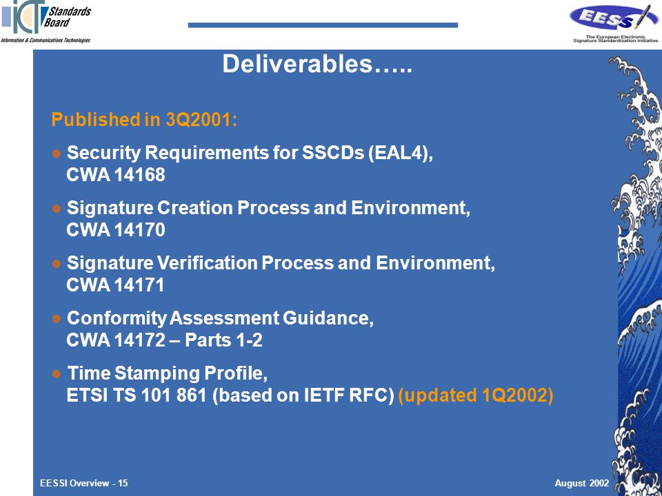EESSI Overview - 15August 2002 Published in 3Q2001: Security Requirements for SSCDs (EAL4), CWA Signature Creation Process and Environment, CWA Signature Verification Process and Environment, CWA Conformity Assessment Guidance, CWA – Parts 1-2 Time Stamping Profile, ETSI TS (based on IETF RFC) (updated 1Q2002) Deliverables…..
