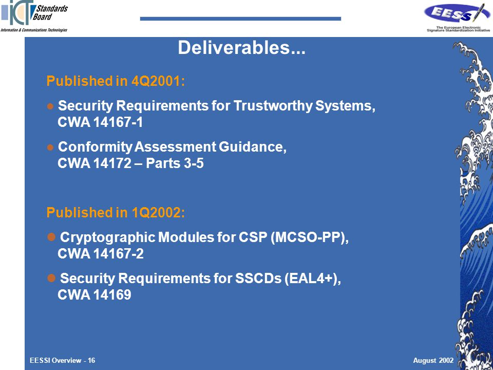EESSI Overview - 16August 2002 Published in 4Q2001: Security Requirements for Trustworthy Systems, CWA Conformity Assessment Guidance, CWA – Parts 3-5 Published in 1Q2002: Cryptographic Modules for CSP (MCSO-PP), CWA Security Requirements for SSCDs (EAL4+), CWA Deliverables...