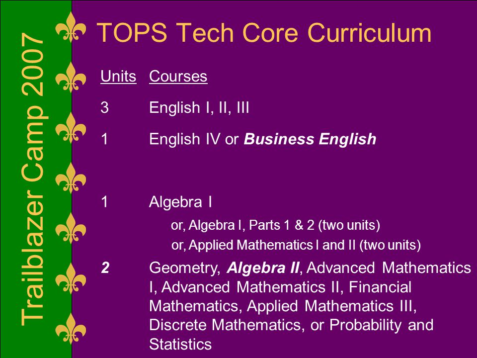 Trailblazer Camp 2007 TOPS Tech Core Curriculum UnitsCourses 3English I, II, III 1English IV or Business English 1Algebra I or, Algebra I, Parts 1 & 2 (two units) or, Applied Mathematics I and II (two units) 2Geometry, Algebra II, Advanced Mathematics I, Advanced Mathematics II, Financial Mathematics, Applied Mathematics III, Discrete Mathematics, or Probability and Statistics