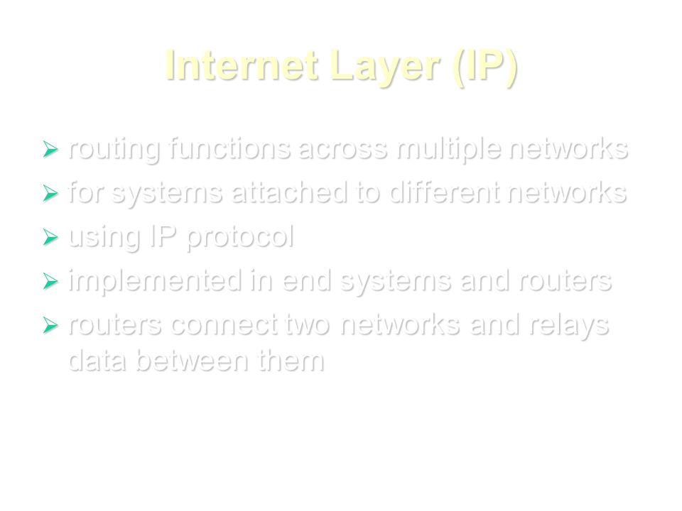Internet Layer (IP)  routing functions across multiple networks  for systems attached to different networks  using IP protocol  implemented in end systems and routers  routers connect two networks and relays data between them