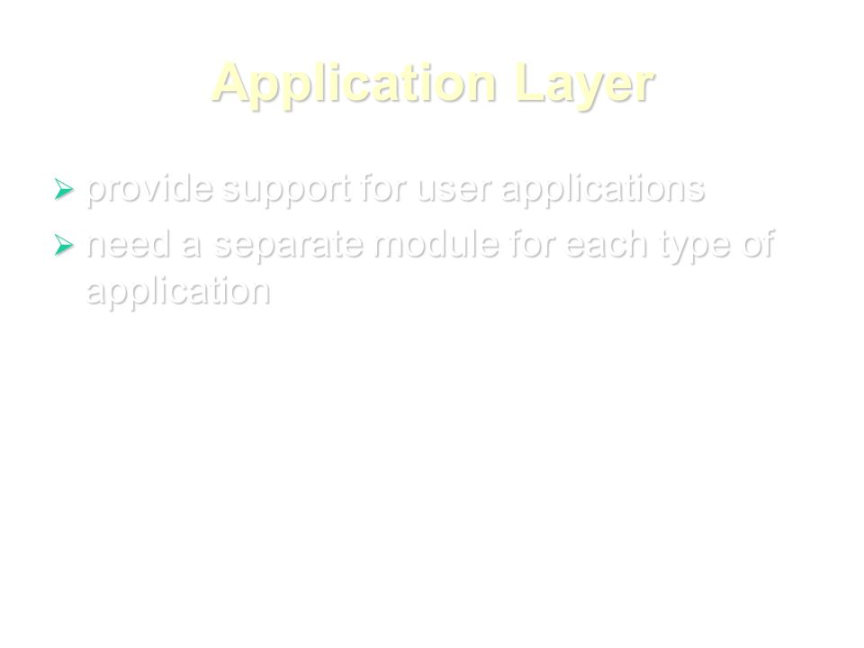 Application Layer  provide support for user applications  need a separate module for each type of application