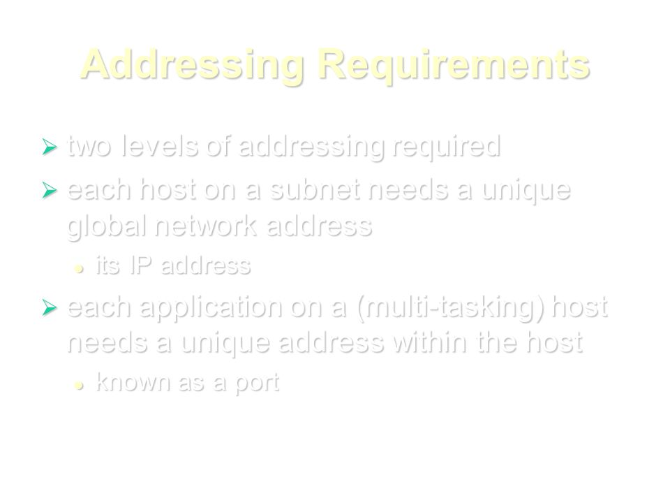 Addressing Requirements  two levels of addressing required  each host on a subnet needs a unique global network address its IP address its IP address  each application on a (multi-tasking) host needs a unique address within the host known as a port known as a port