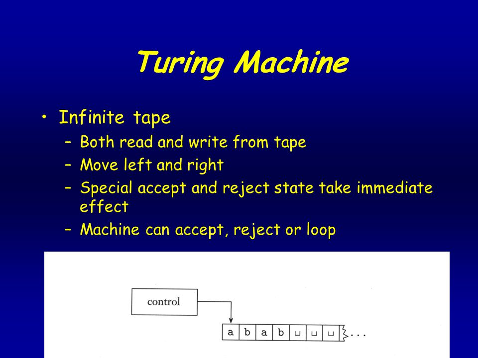 Turing Machine Infinite tape –Both read and write from tape –Move left and right –Special accept and reject state take immediate effect –Machine can accept, reject or loop