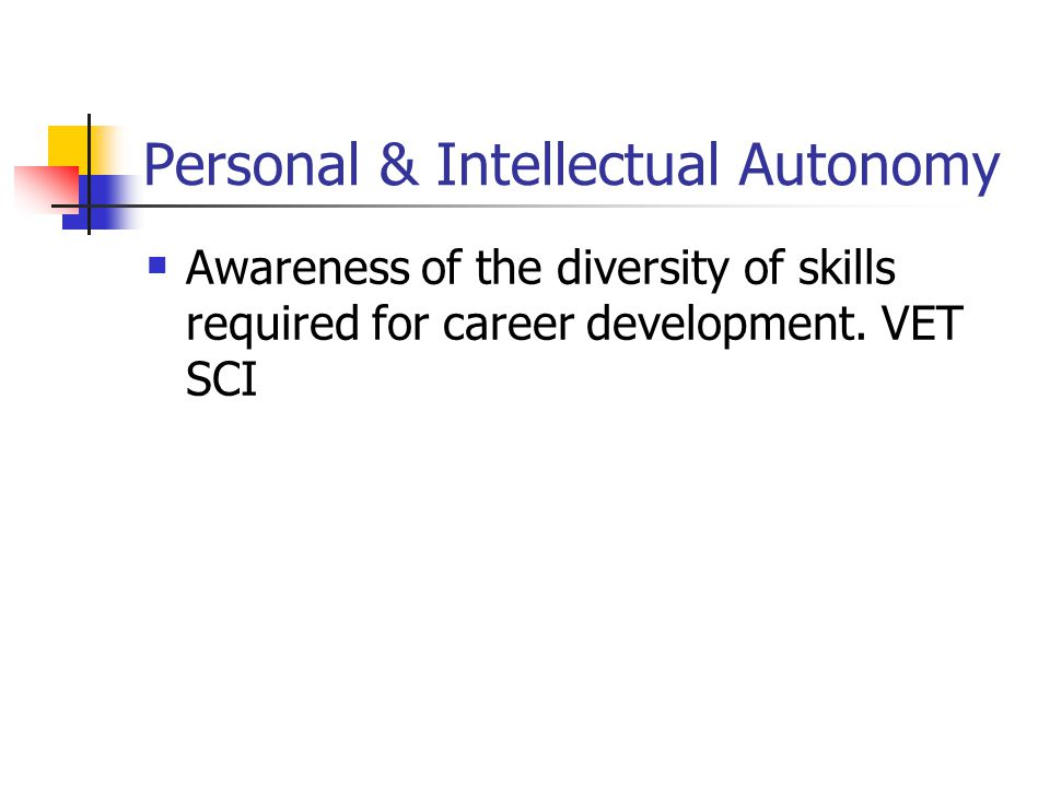 Personal & Intellectual Autonomy Awareness of the diversity of skills required for career development.
