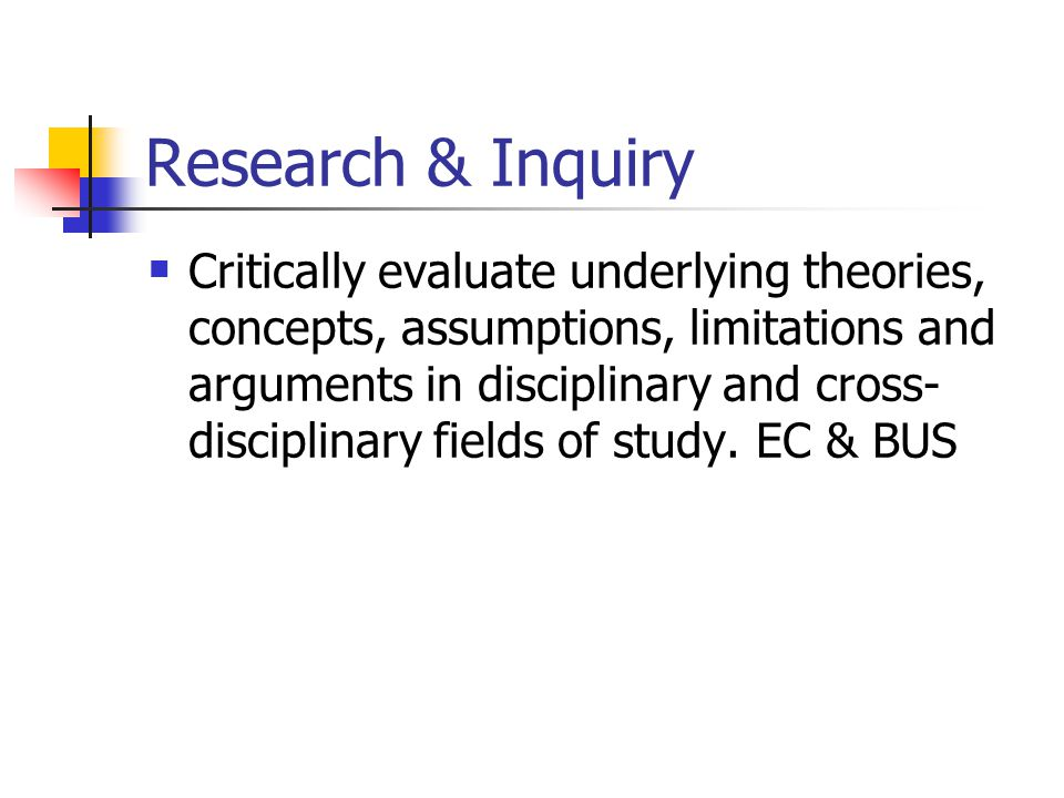 Research & Inquiry Critically evaluate underlying theories, concepts, assumptions, limitations and arguments in disciplinary and cross- disciplinary fields of study.