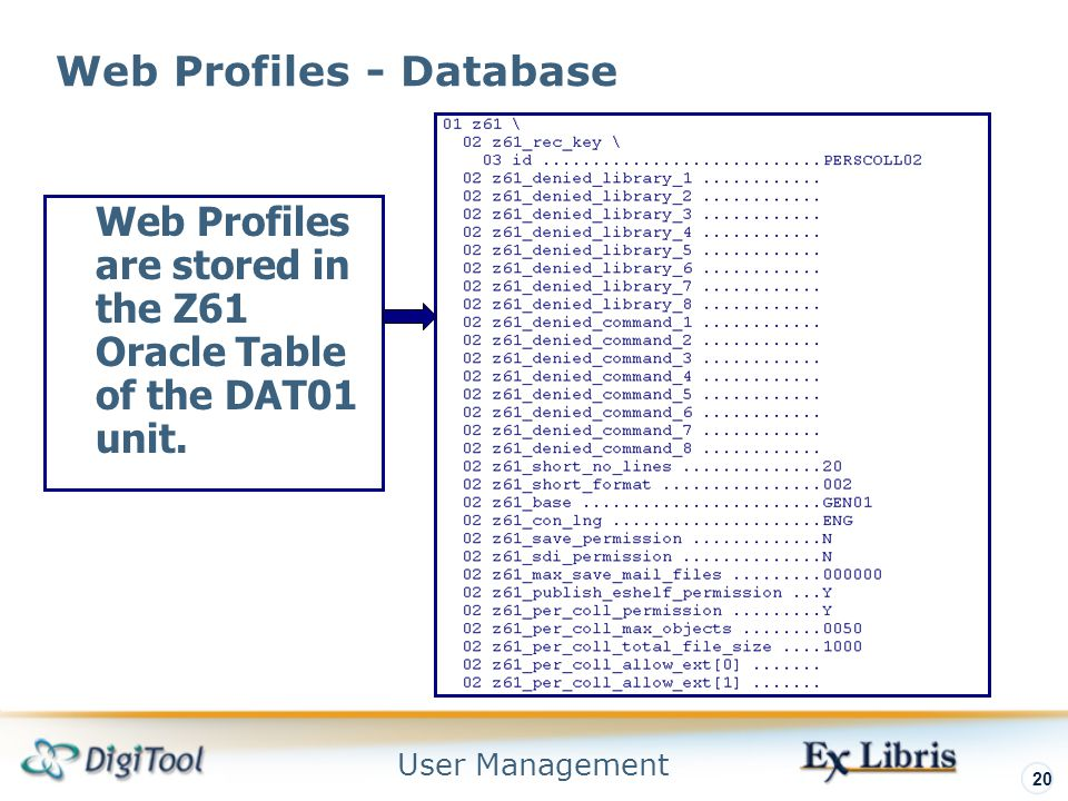 User Management 20 Web Profiles - Database Web Profiles are stored in the Z61 Oracle Table of the DAT01 unit.