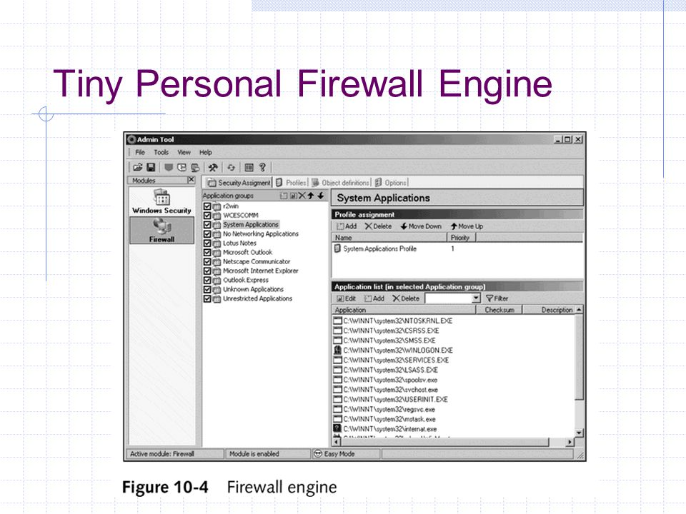 Tiny Personal Firewall Engine