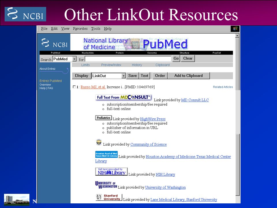 NATIONAL LIBRARY OF MEDICINE Other LinkOut Resources