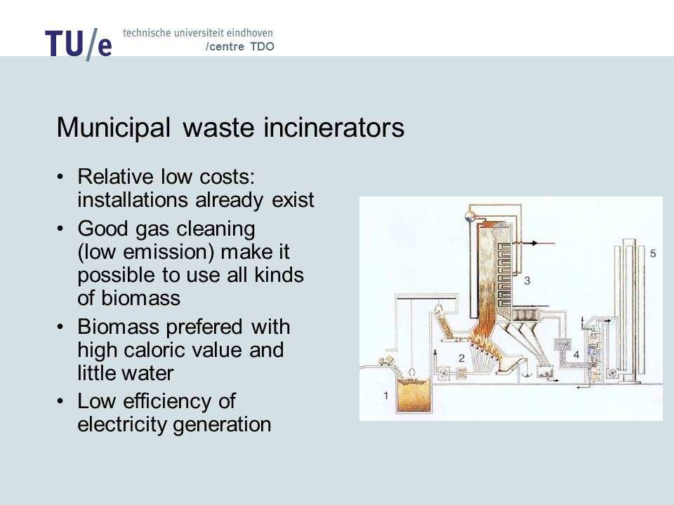 /centre TDO Municipal waste incinerators Relative low costs: installations already exist Good gas cleaning (low emission) make it possible to use all kinds of biomass Biomass prefered with high caloric value and little water Low efficiency of electricity generation