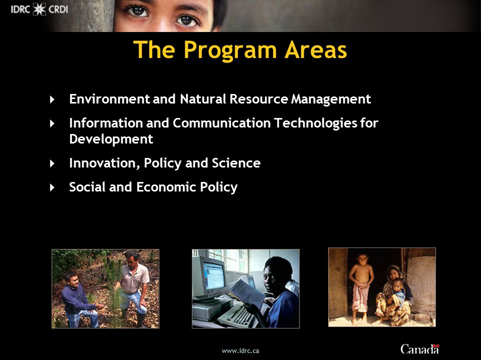 The Program Areas  Environment and Natural Resource Management  Information and Communication Technologies for Development  Innovation, Policy and Science  Social and Economic Policy