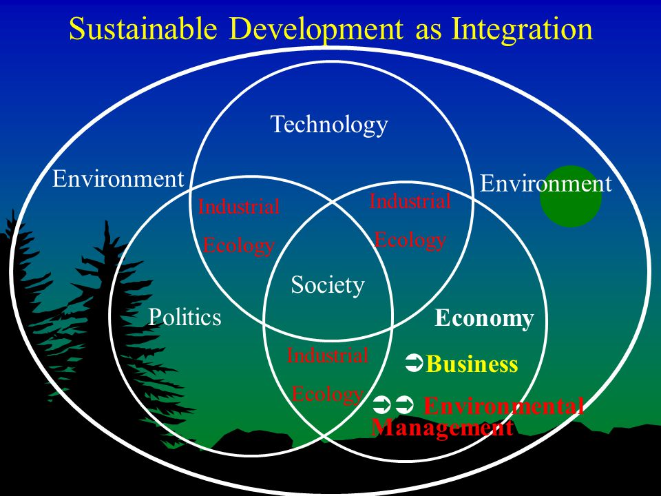 Sustainable Development as Integration Industrial Ecology Technology Politics Society Environment Industrial Ecology Industrial Ecology Economy  Business  Environmental Management