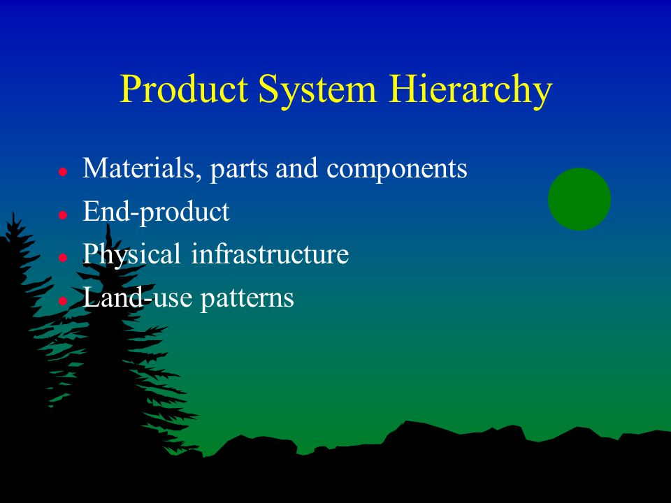 Product System Hierarchy l Materials, parts and components l End-product l Physical infrastructure l Land-use patterns