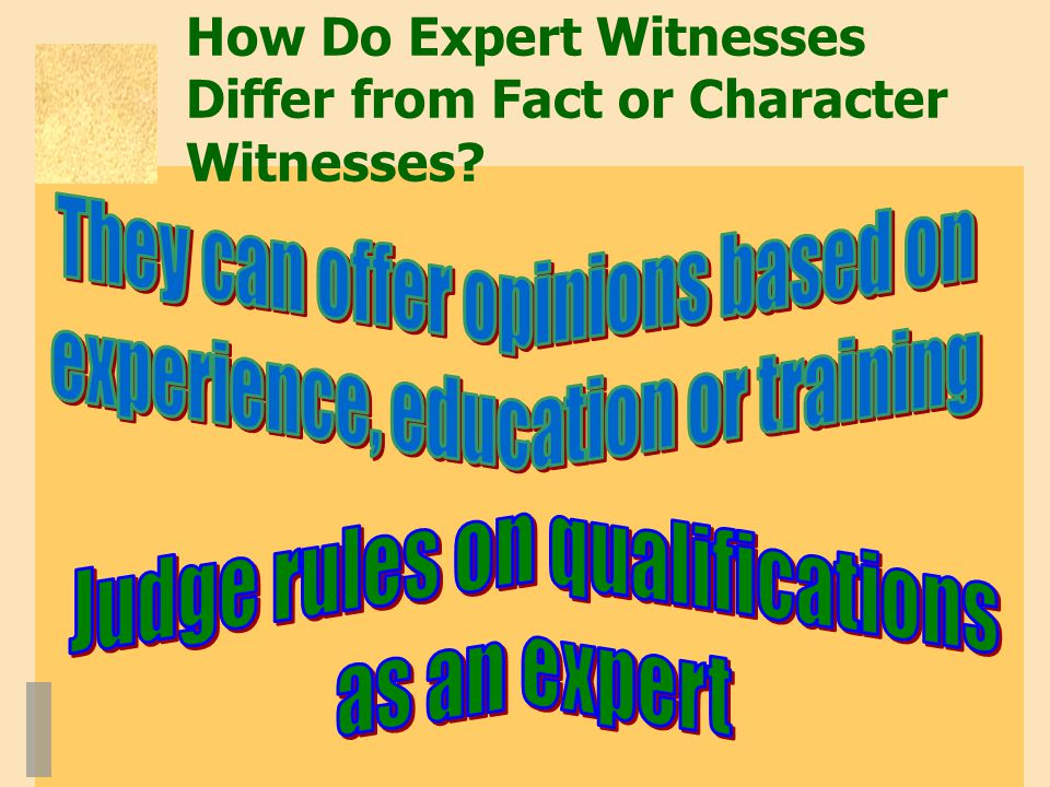How Do Expert Witnesses Differ from Fact or Character Witnesses