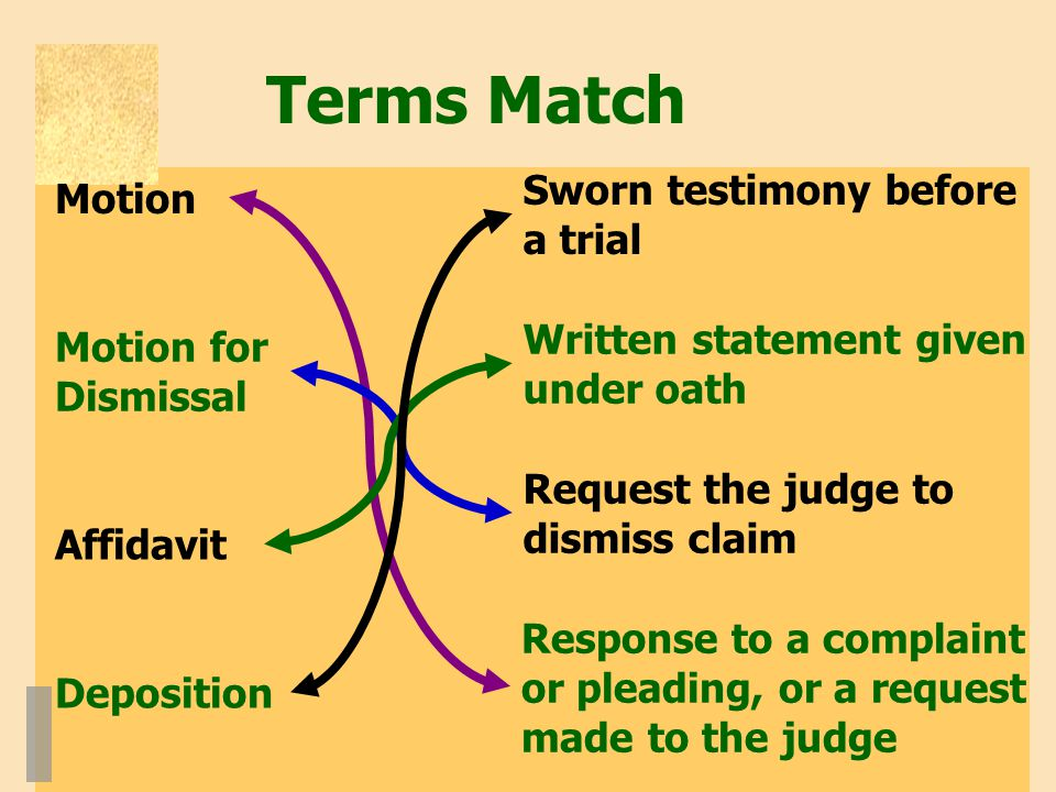 Terms Match Sworn testimony before a trial Written statement given under oath Response to a complaint or pleading, or a request made to the judge Request the judge to dismiss claim Motion Motion for Dismissal Affidavit Deposition