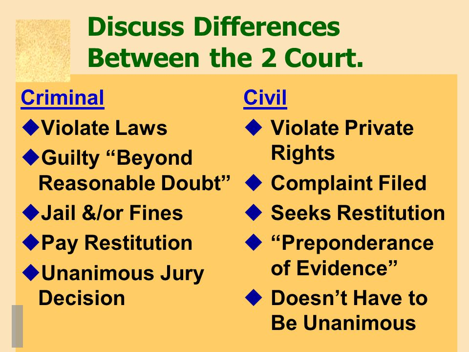Discuss Differences Between the 2 Court.