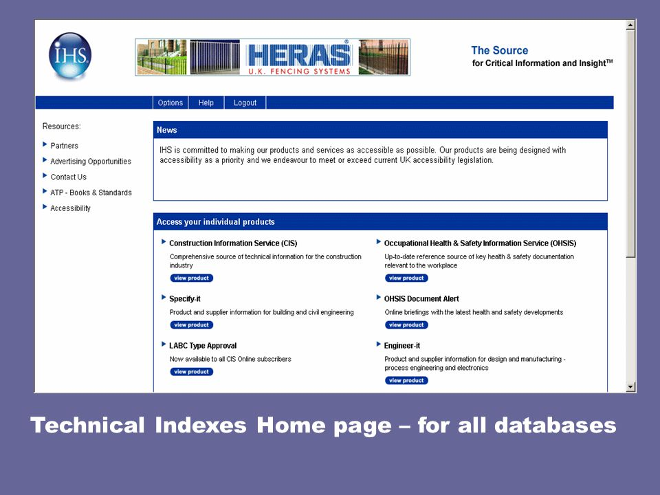 Technical Indexes Home page – for all databases