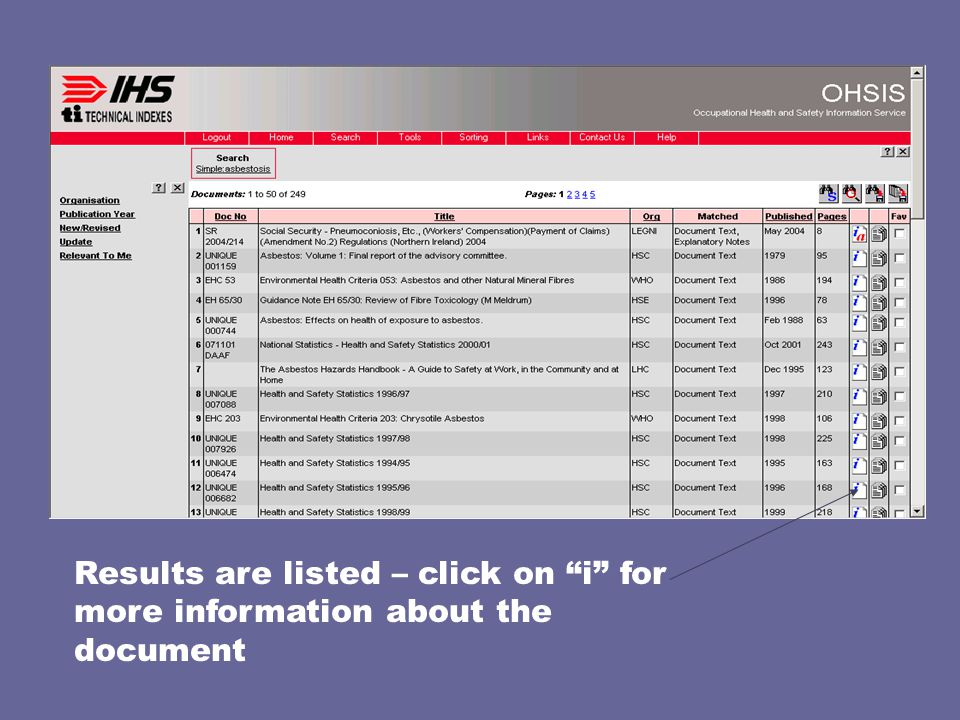 Results are listed – click on i for more information about the document