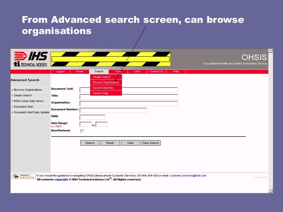 From Advanced search screen, can browse organisations